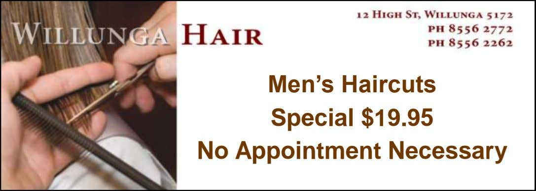 Men's Haircuts Special $19.95 No Appointment Necessary