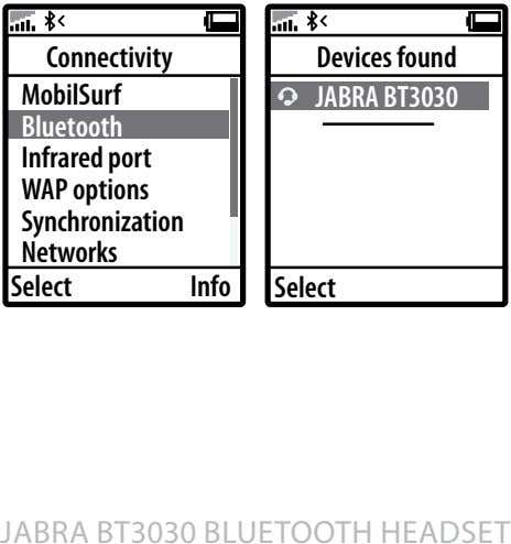 Connectivity Devices found MobilSurf JABRA BT3030 Bluetooth Infrared port WAP options Synchronization Networks