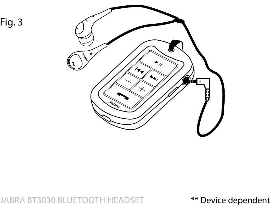 fig 3 Jabra bT3030 blueTooTh headseT ** device dependent