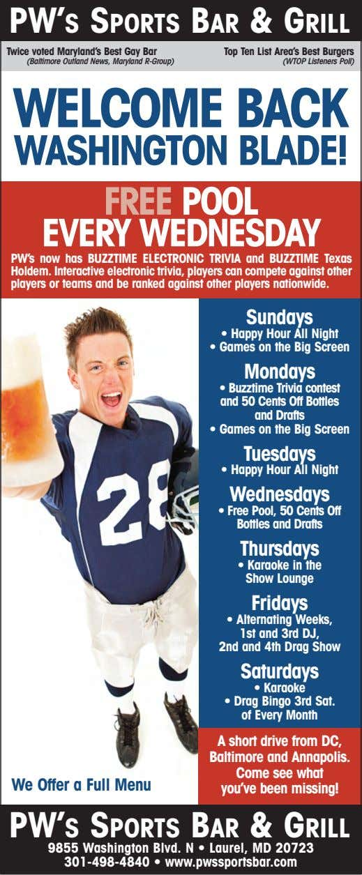 PW'S SPORTS BAR & GRILL Twice voted Maryland's Best Gay Bar Top Ten List Area's