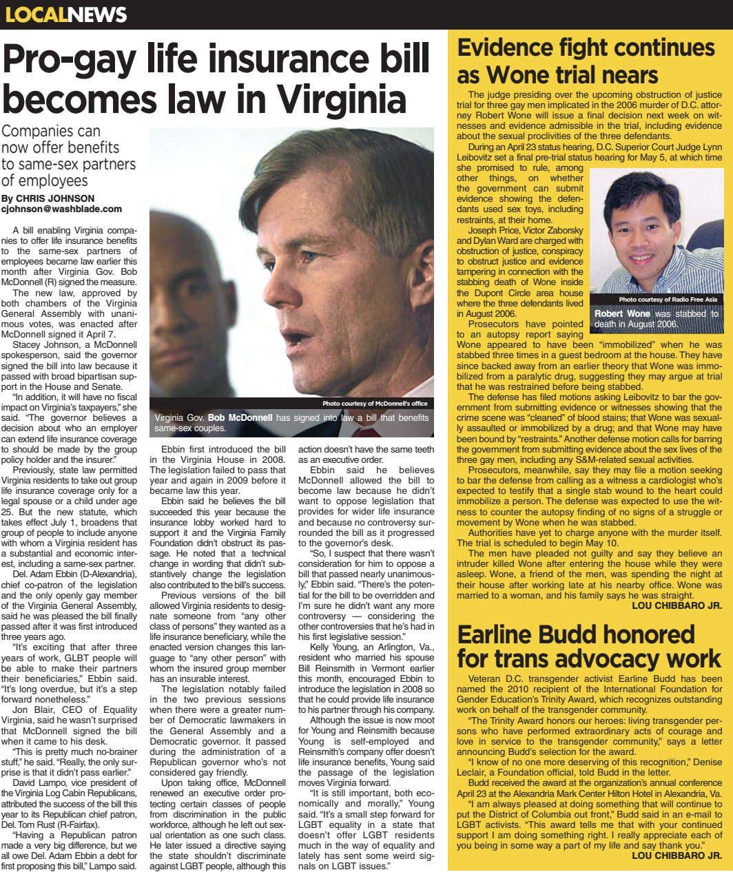 LOCALNEWS Pro-gay life insurance bill becomes law in Virginia Evidence fight continues as Wone trial