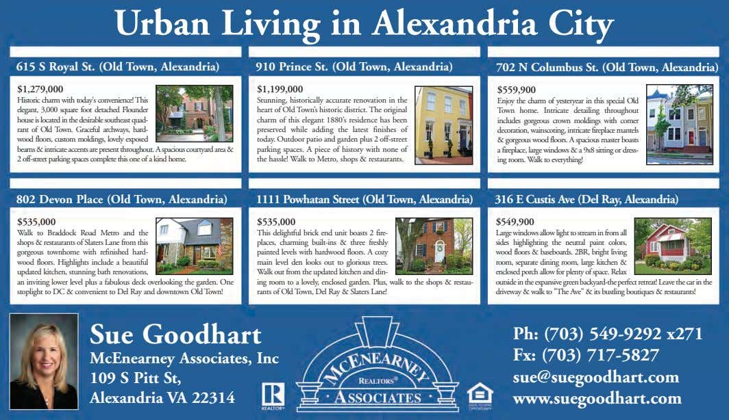 Urban Living in Alexandria City 615 S Royal St. (Old Town, Alexandria) 910 Prince St.