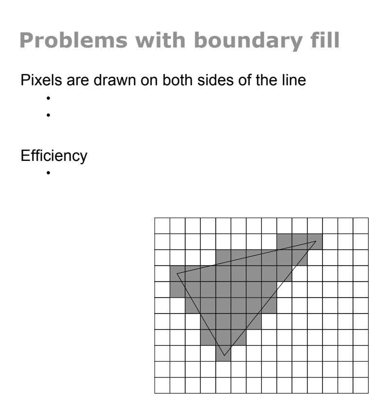 Problems with boundary fill Pixels are drawn on both sides of the line •  •  Efficiency