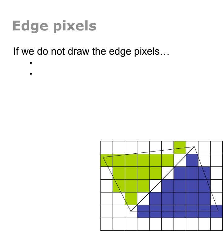 Edge pixels If we do not draw the edge pixels… •  •