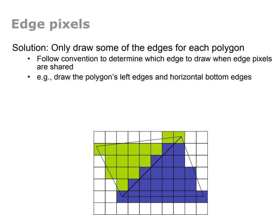 Edge pixels Solution: Only draw some of the edges for each polygon •  Follow convention to
