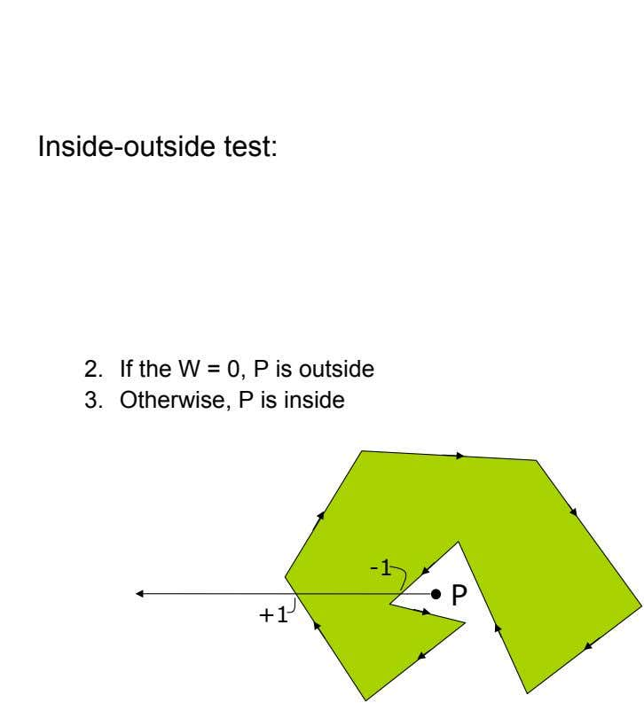 Inside-outside test: 2.  If the W = 0, P is outside 3.  Otherwise, P is inside