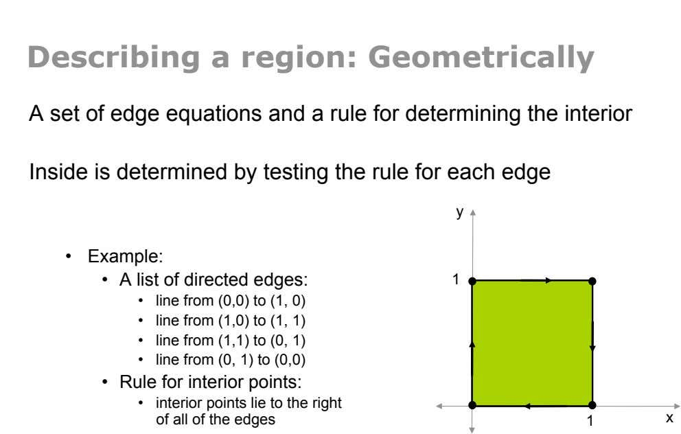 Describing a region: Geometrically A set of edge equations and a rule for determining the interior