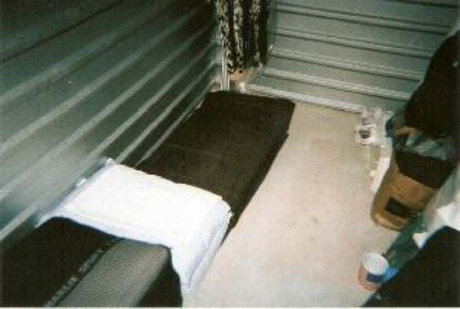 "Photo: Supplied by Vikki Hankins Hankins' storage space ""apartment"" ""There came a point where I"