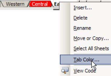 You may also change the Tab Color , from the shortcut menu. To rearrange the worksheets