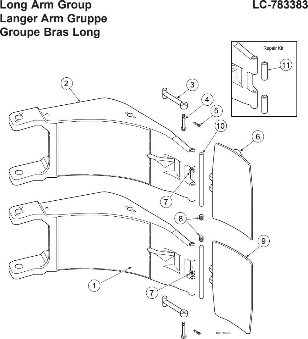 Long Arm Group Langer Arm Gruppe Groupe Bras Long LC-783383 Repair Kit 11 2 3