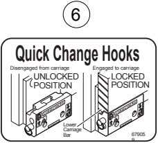 6 QuickChangeHooks Disengaged from carriage Engaged to carriage UNLOCKED LOCKED POSITION POSITION Lower Carriage