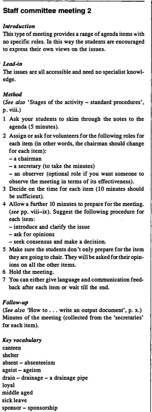 Staff committee meeting 2 Introduction This type of meeting provides a range of agenda items