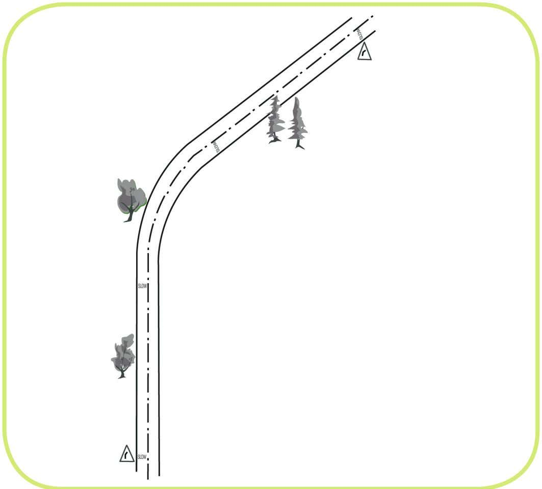 This is the plan view of the bend. It already has a bend sign reinforced by