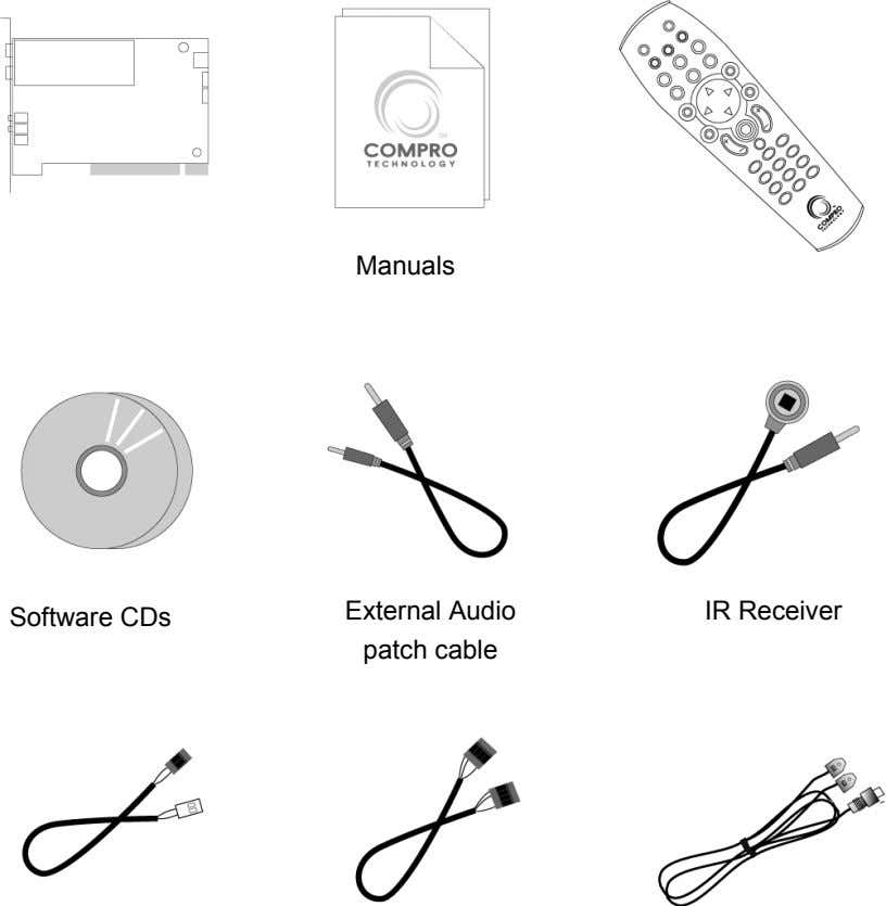 Manuals External Audio IR Receiver Software CDs patch cable