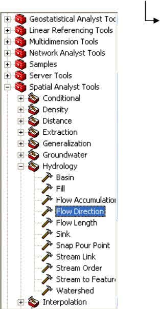bekerja di ArcTool box, kali ini arahkan ke Flow Direction ArcToolbox Spatial Analyst Tools Hydrology Flow