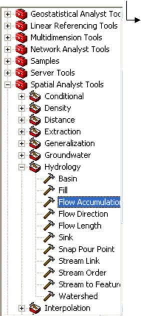 di ArcToolbox, kali ini arahk an ke Flow Accumulation. ArcToolbox Spatial Analyst Tools Hydrology Flow Accumulation