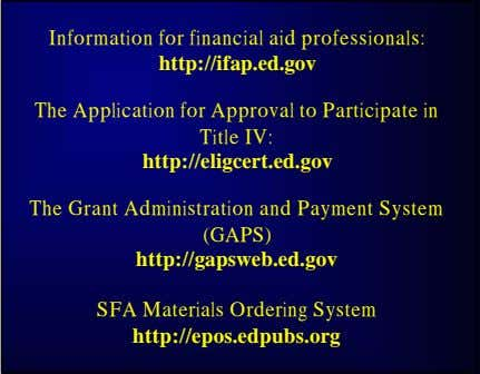 Information for Application for Approval The Grant Administration SFA Materials Ordering System