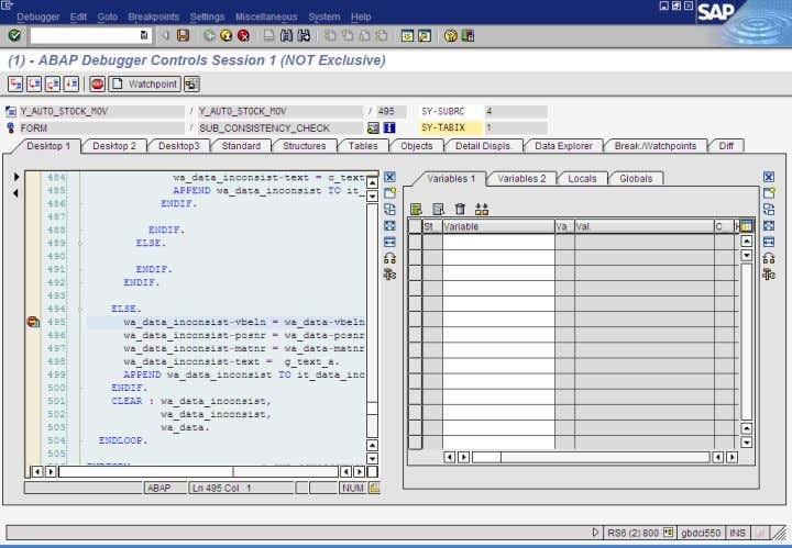 Debugging :  On entering the debugging mode we see the following screen.