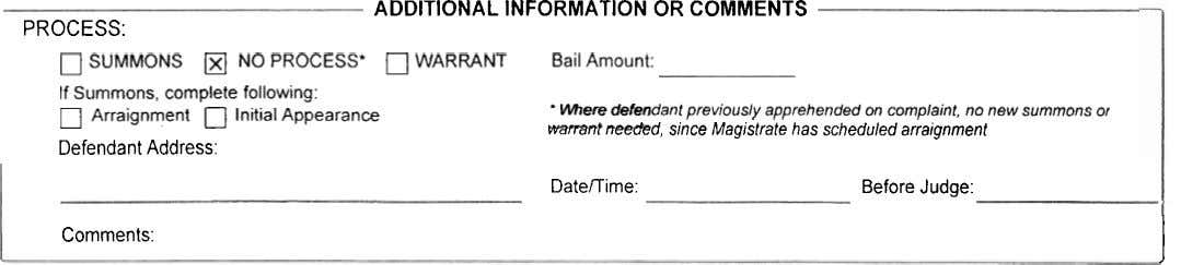 ADDITIONAL INFORMATION OR COMMENTS PROCESS: SUMMONS rn NO PROCESS* WARRANT Bail Amount: If Summons, complete following: