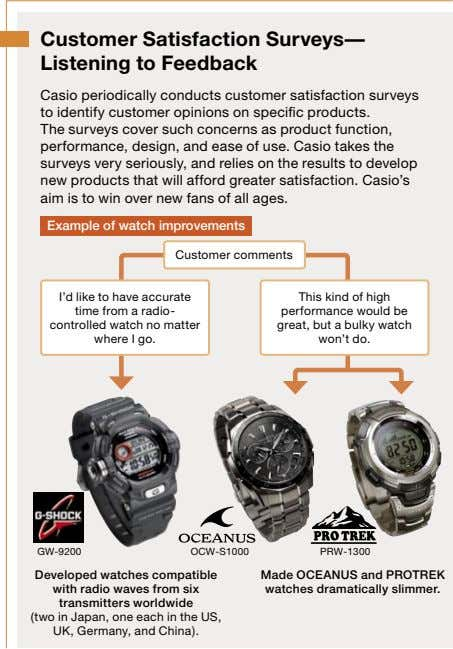 Customer Satisfaction Surveys— Listening to Feedback Casio periodically conducts customer satisfaction surveys to