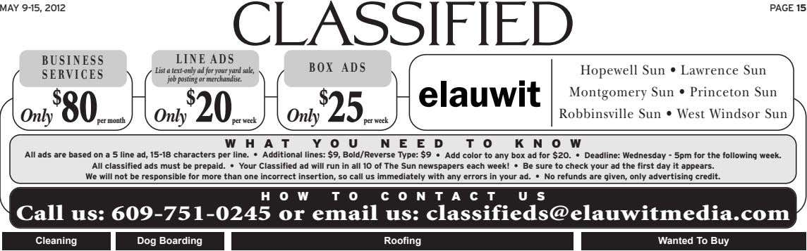 MAY 9-15, 2012 PAGE 15 classified BUSINESS LINE ADS BOX ADS SERVICES List a text-only