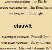 Joe Eisele ADVERTISING DIRECTOR Tim Ronaldson DIGITAL MEDIA DIRECTOR Tom Engle ART DIRECTOR CHAIRMAN OF
