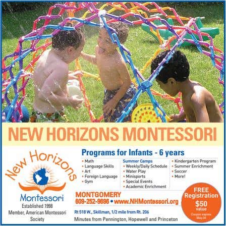 Programs for Infants - 6 years MONTGOMERY 609-252-9696 • www.NHMontessori.org Established 1998 Member, American