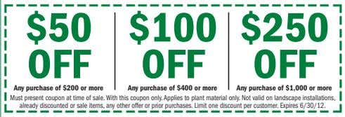 $50 $100 $250 OFF OFF OFF Any purchase of $200 or more Any purchase of