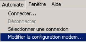 the modem B config uration, with the same application. Modifier la chaine « commande hayes d'initialisation