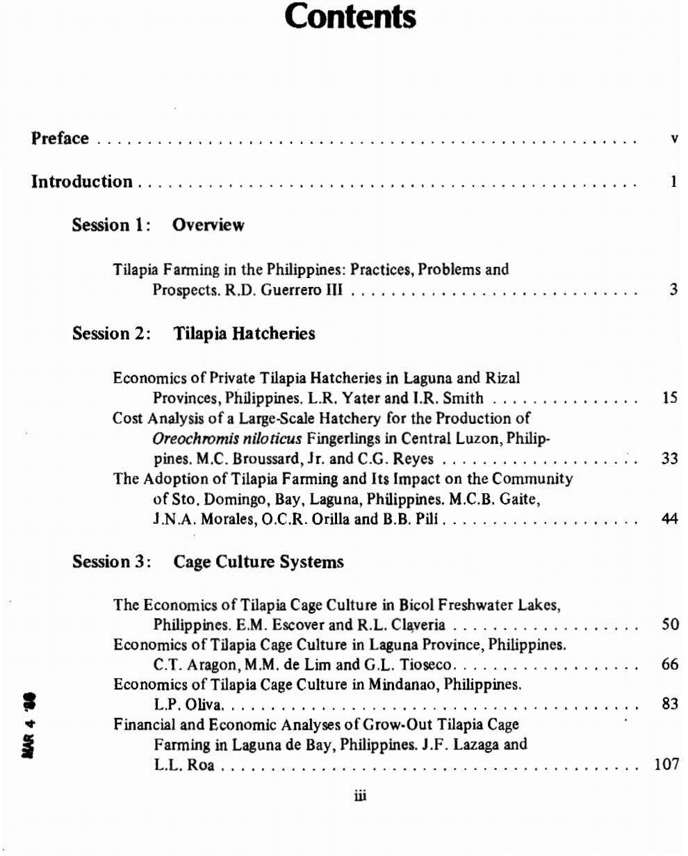 Contents Preface v Introduction 1 Session 1: Overview Tilapia Farming in the Philippines: Practices, Problems