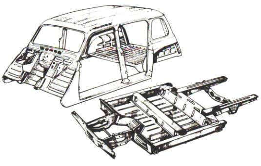 there are front and rear sub-frames. Platform chassis Volkswagen, Citroen and R enault used this method.