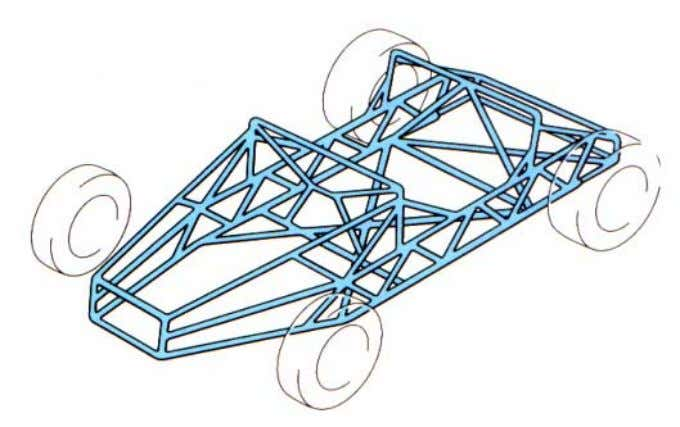 Space frame A skeletal structure formed from sections of steel pipe. It is very costly to