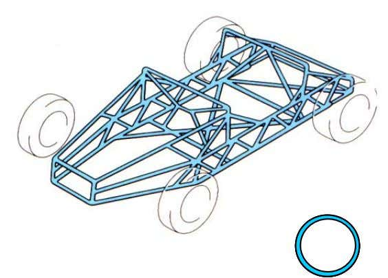 Tubular section (space frame) Constructed of steel pipe welded together to form a ske leton. As