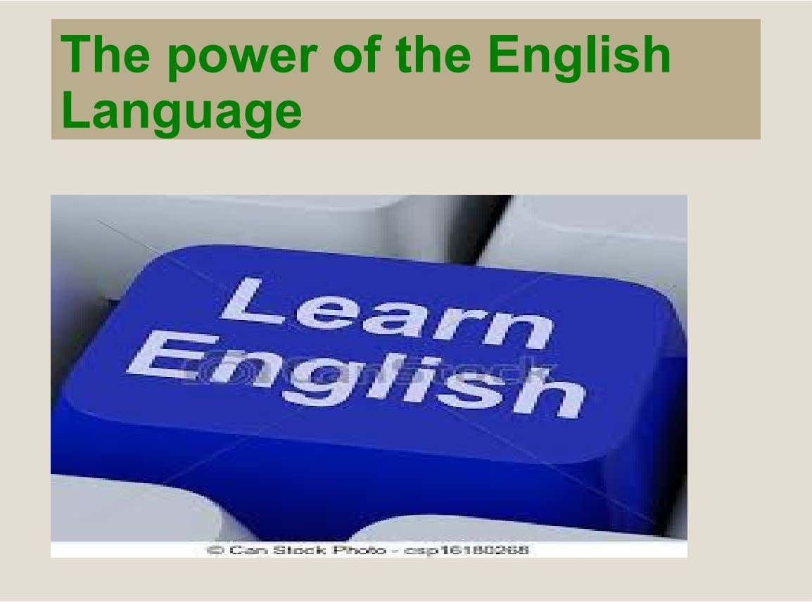The power of the English Language