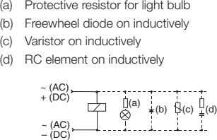 (a) Protective resistor for light bulb (b) Freewheel diode on inductively (c) Varistor on inductively