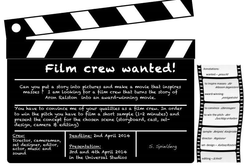 ! Film crew wanted! !!!!!!!! Annotations: ! !!!!!!!!!!!! wanted! – ! gesucht ! Can you