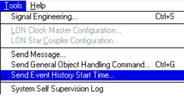 Tools > Send Event History Start Time . See Figure 4.41. Figure 4.41: Send Event History