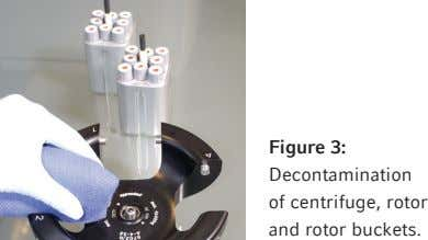Figure 3: Decontamination of centrifuge, rotor and rotor buckets.