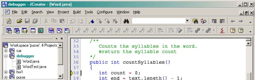 int syllables = w.countSyllables(); stops at the first line of the countSyllables method: 10 of 12