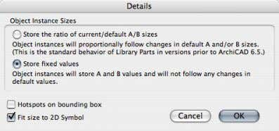 "size to 2D symbol"" checkbox. Close the dialog with OK. The A and B parameters were"