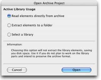 "Library Usage in the ""Open Archive Project"" dialog. ArchiCAD will open the selected archive project and"