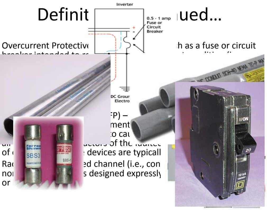 Definitions Continued… Overcurrent Protective Device – A device such as a fuse or circuit breaker