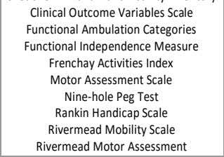 Index Motor Assessment Scale Nine-hole Peg Test Rankin Handicap Scale Rivermead Mobility Scale Rivermead Motor Assessment
