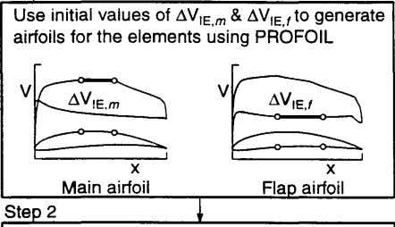 Use initial values of !l. v,E,m & Llv,E,f to generate airfoils for the elements using