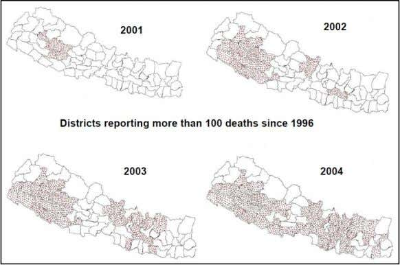 distribution of violence in Nepal, 2001 – 2004 Source: Do and Iyer (2007) (originally produced by