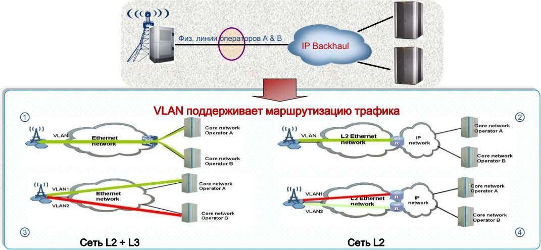 CN A Физ. линии операторов A & B IP Backhaul Общая eNodeB CN B VLAN