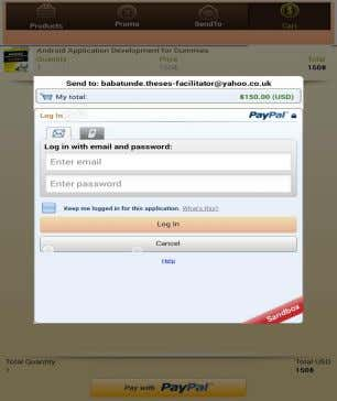 The PayPal authentication page is shown in figure 16 below. Figure 16 PayPal authentication page The