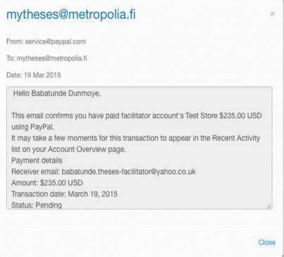 firmation page generated by the user PayPal test account. Figure 23. User payment confirmation page The