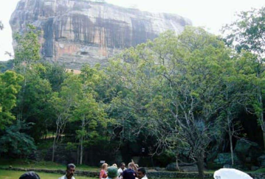 The water Gardens kept in good repair Pointing up the sheer side of the sigiriya Rock