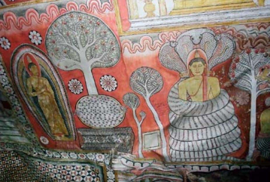 The dambulla Cave Temple stupa a mural of the buddha sheltered by the Naga king